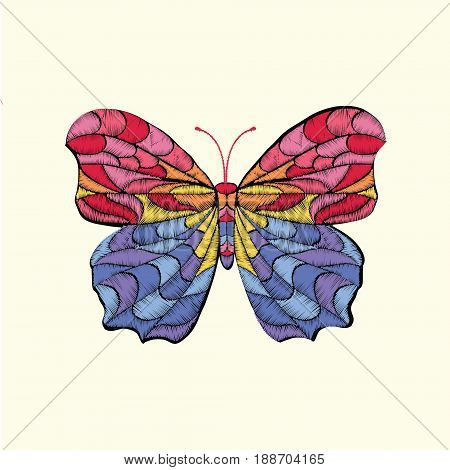 Butterfly Embroidery. Butterfly design for clothing. Ornamental Fashion print.