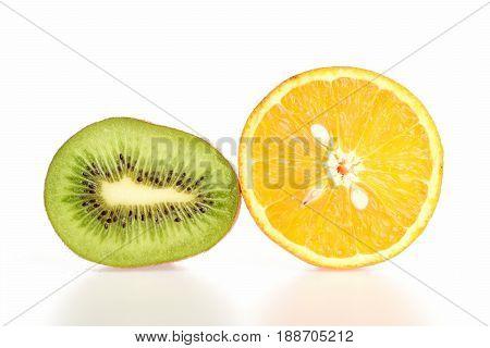 Kiwifruit And Orange Halves Isolated On White Background