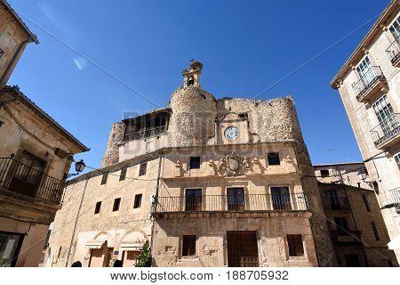 Castle Fernan Gonzalez main square Sepulveda Segovia province. Castile-Leon Spain