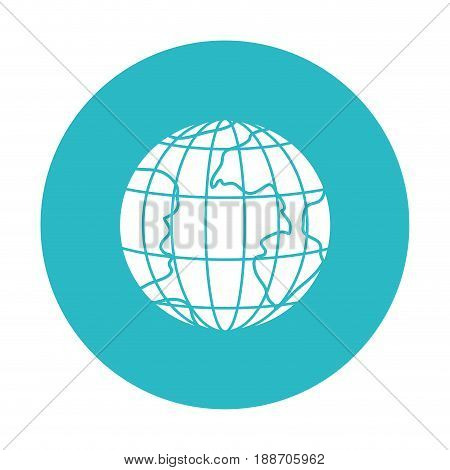 circle light blue with earth globe with meridians and parallels vector illustration