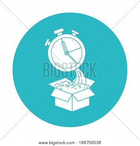 circle light blue with cardboard box and stopwatch vector illustration