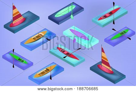 Isometric sporting boats canoes sailing surfboard with their oars in vectors