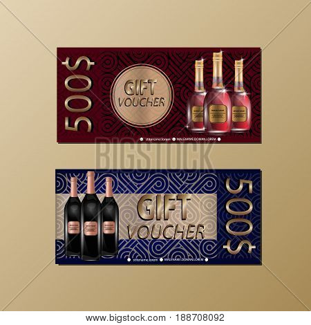 Gift Voucher Template With Sparkls and Wine Bottles For your Designt. Vector Illustration