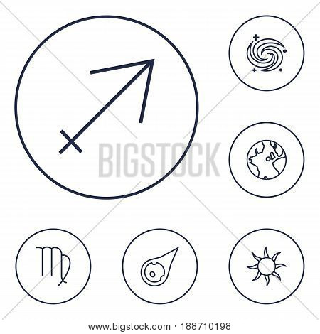 Set Of 6 Astronomy Outline Icons Set.Collection Of Sun, Virgo, Sagittarius And Other Elements.