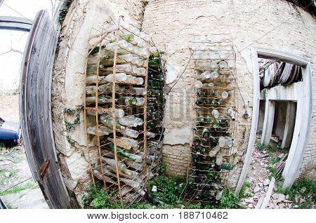 Abandoned Cellar Empty Wine Bottles