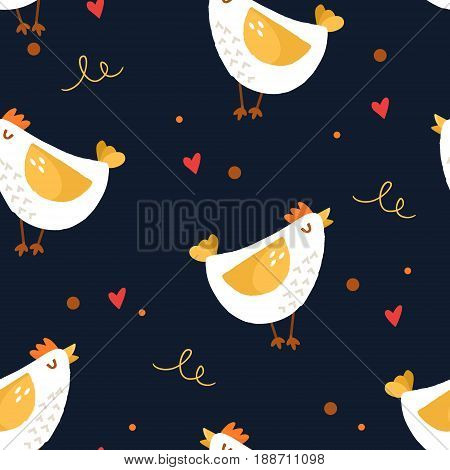 Seamless pattern with cartoon chicken and hearts on black background. Ornament for textile and wrapping. Vector.