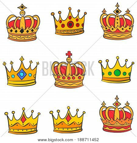 Collection stock red crown doodle set vector illustration