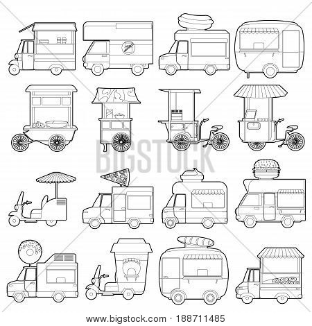 Street food vehicles icons set. Outline illustration of 16 street food vehicles vector icons for web