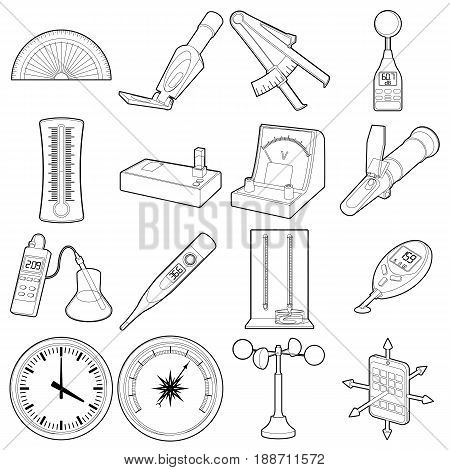 Measure tools icons set. Outline illustration of 16 measure tools vector icons for web