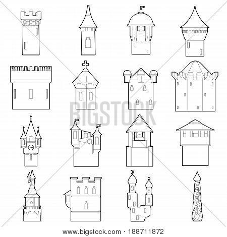 Castle tower icons set color. Outline illustration of 16 castle tower color vector icons for web