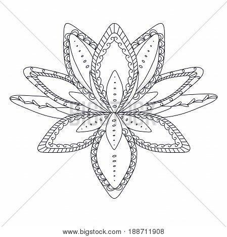 Monochrome stylized ornamental lotus flower for logo, for tattoo, for machindi stock vector illustration