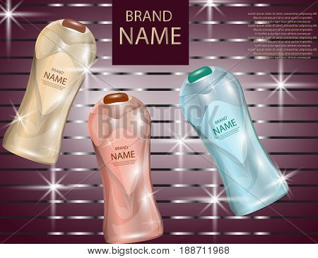 Glamorous Hair Care Products Packages on the sparkling effects background. Mock-up 3D Realistic Vector illustration for design template