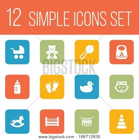 Set Of 12 Child Icons Set.Collection Of Maraca, Bear, Breastplate And Other Elements.