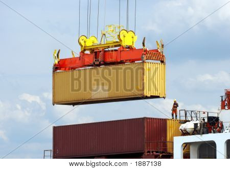 Dockworker On Container Ship