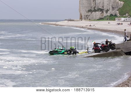 Veulette sur mer, Normandy, France - May 28, 2017. Unidentified competitors are going to the sea, to be ready for the competition championship France.