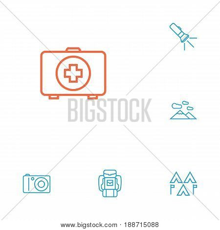 Set Of 6 Camping Outline Icons Set.Collection Of Encampment, Mountains, Pocket Torch And Other Elements.