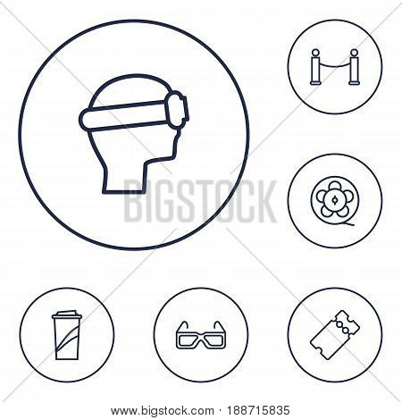 Set Of 6 Entertainment Outline Icons Set.Collection Of Soft Drink, Film Role, Barrier Rope And Other Elements.