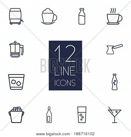 Set Of 12  Outline Icons Set.Collection Of Soda, Wine Cask, Bottle And Other Elements.