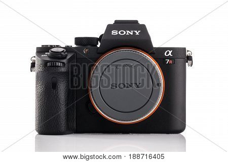 Varna Bulgaria - February 022017: Image of Alpha a7R II Mirrorless Digital Camera with full-frame 42.4-megapixel Exmor R back-illuminated structure CMOS sensor