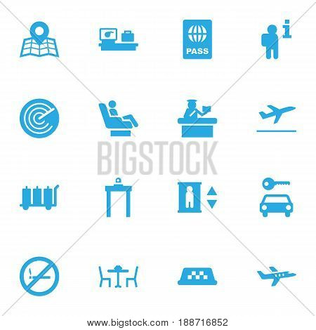 Set Of 16 Airplane Icons Set.Collection Of Cab, Automobile, Radiolocator And Other Elements.