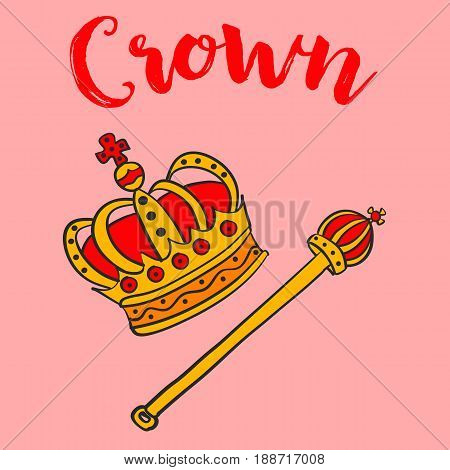Crown elegant style vector art collection stock