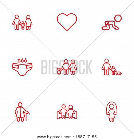 Set Of 9 Family Outline Icons Set.Collection Of Crawling Kid, Diaper, Skipping Rope And Other Elements.