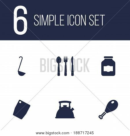 Set Of 6 Kitchen Icons Set.Collection Of Jar, Cutting Surface, Silverware And Other Elements.