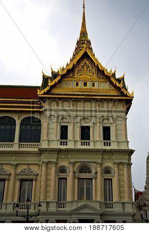 Thailand Asia    Bangkok Rain    Palaces     Sky      And  Colors   Mosaic
