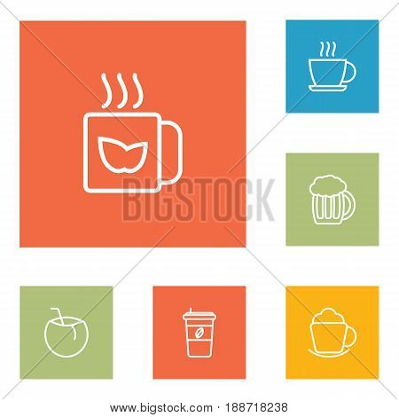 Set Of 6  Outline Icons Set.Collection Of Coffee, Hot Drink, Cocos And Other Elements.
