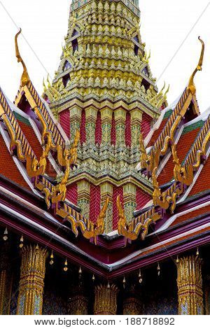 Thailand       Rain   Temple Abstract    And  Colors Religion  Mosaic