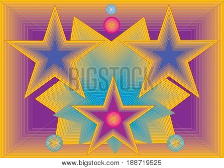 Happy vector background with shapes of stars.