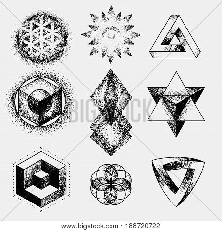 Set of impossible and other tattoo shapes, dotwork, blackwork all made of dots. Geometrical, sacred figures stars, triangle and squares.