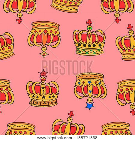Collection stock of red crown pattern vector art