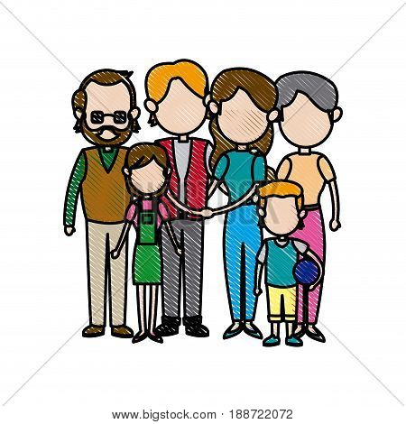big family embraced together relationship image vector illustration