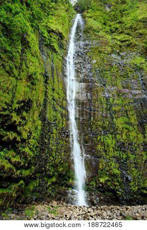 Famous Waimoku Falls Waterfall At The Head Of The Pipiwai Trail, Above Seven Sacred Pools On The Roa