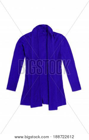 Blue Wool Knit Cardigan, Isolated On White Background