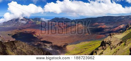 Stunning Landscape Of Haleakala Volcano Crater Taken At Kalahaku Overlook At Haleakala Summit, Maui,