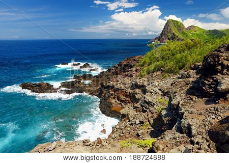Rough And Rocky Shore At North-west Coast Of Maui, Hawaii