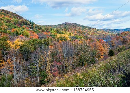 Scenic Harriman State Park in New York during the Fall.