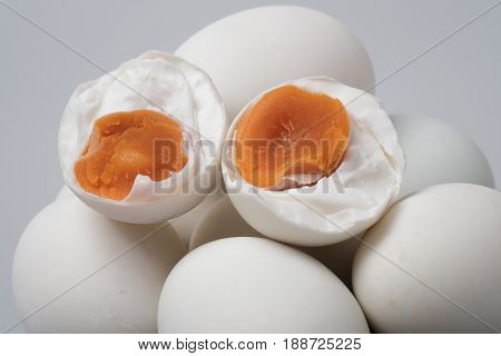 Isolated Top View Group Of Salted Duck Egg