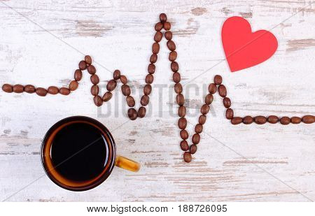 Cardiogram Line Of Coffee Grains And Cup Of Coffee, Concept Of Medicine And Healthcare