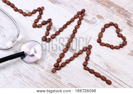 Cardiogram Line Of Coffee Grains And Medical Stethoscope, Concept Of Medicine And Healthcare