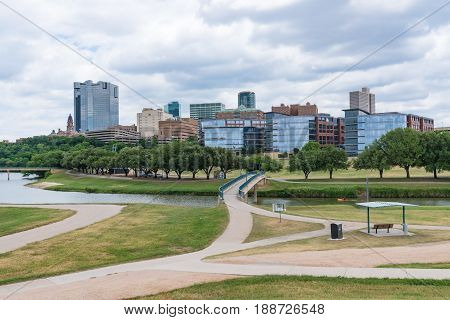 Fort Worth Texas city skyline from across the Trinity river