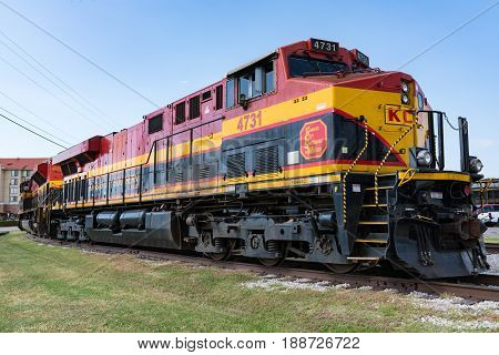 FORT WORTH TX - MAY 11, 2017: Kansas City Southern de Mexico railroad locomotive parked in Forth Worth, Texas