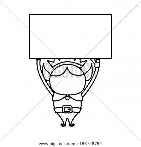 elf helper santa with blank board christmas celebration, outline icon vector illustartion