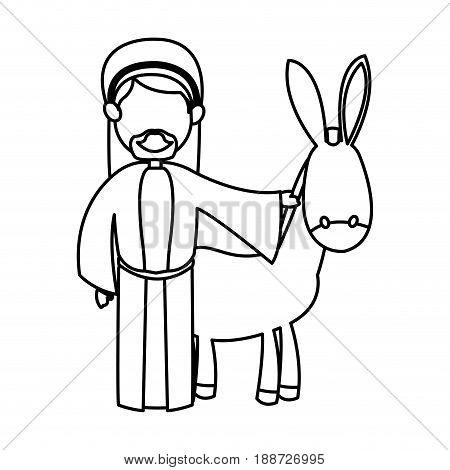 cartoon joseph and donkey standing line image vector illustration