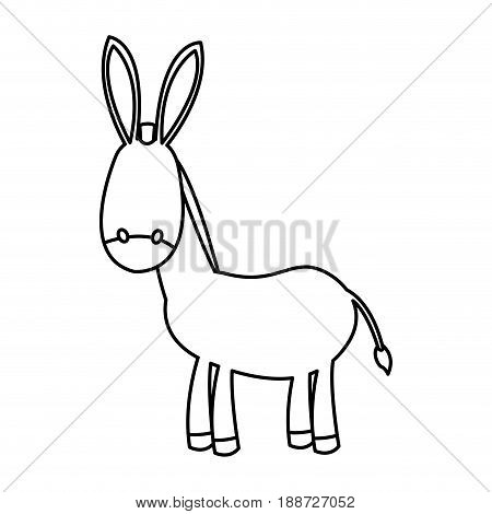 outlined donkey manger animal nativity vector illustration