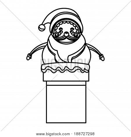 outlined santa claus in chimney christmas celebration image vector illustration