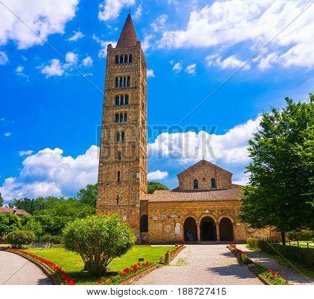 Pomposa Abbey benedictine monastery medieval church and campanile tower. Codigoro Ferrara Emilia Romagna Italy Europe.