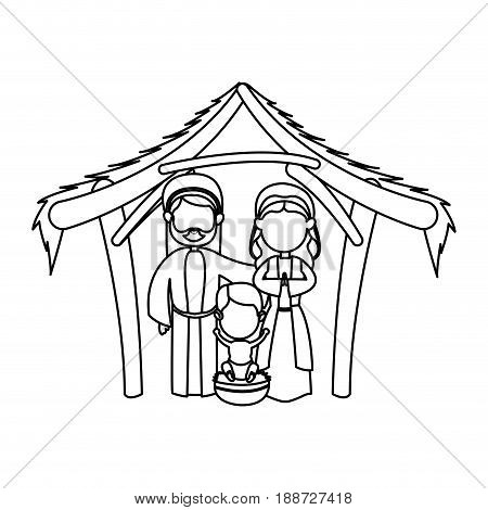 outlined manger mary joseph baby jesus nativity celebration vector illustration
